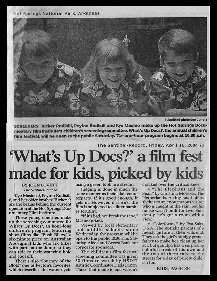 2004 Kye does films for Kids